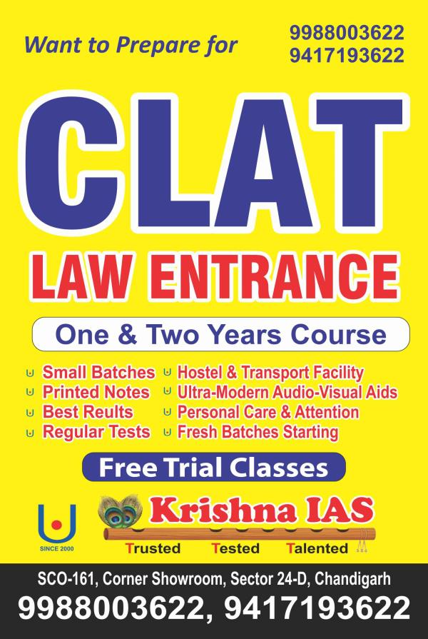 CLAT LAW ENTRANCE COACHING AT KRISHNA 9988003622 IN CHANDIGARH